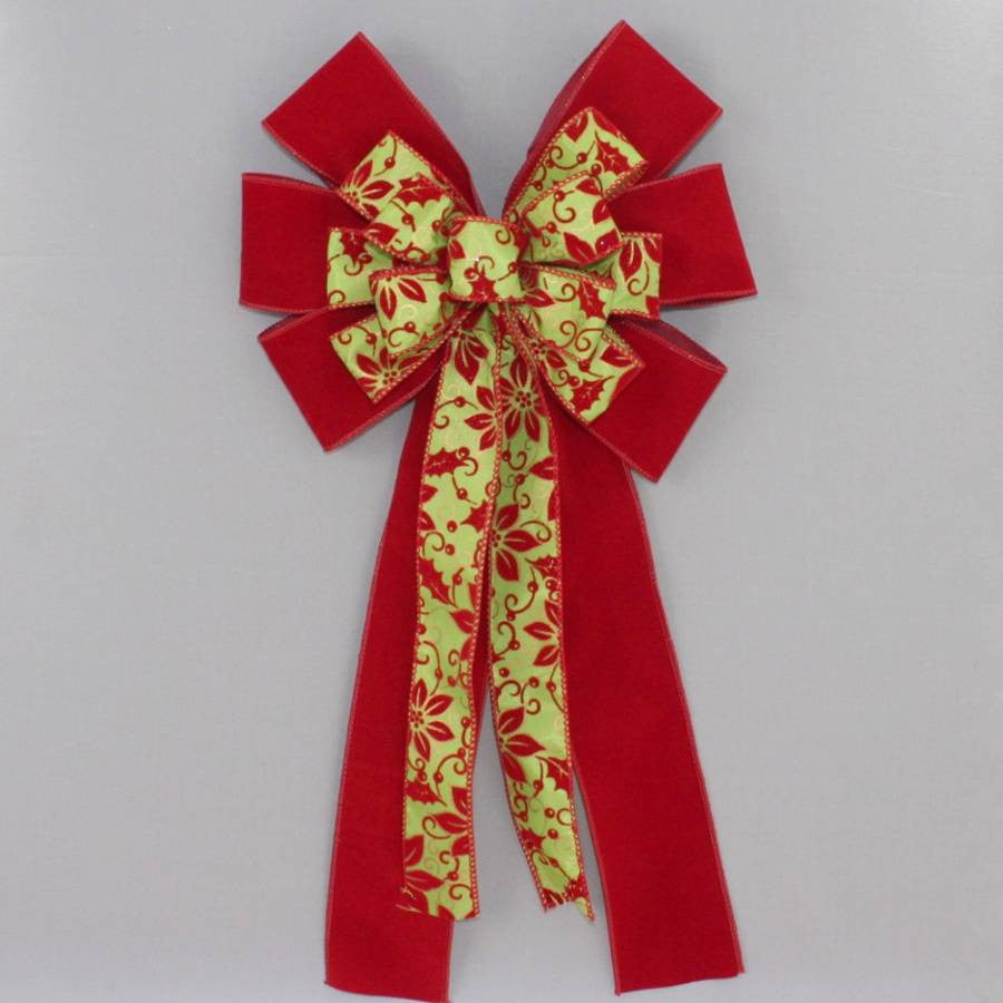 Poinsettia Lime Scarlet Velvet Christmas Bow - Package Perfect Bows - 3