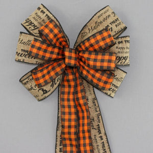 Rustic Halloween Script Plaid Wreath Bow - Package Perfect Bows