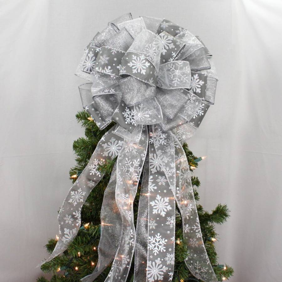 Pewter Silver Snowflake Christmas Tree Topper Bow - Package Perfect Bows