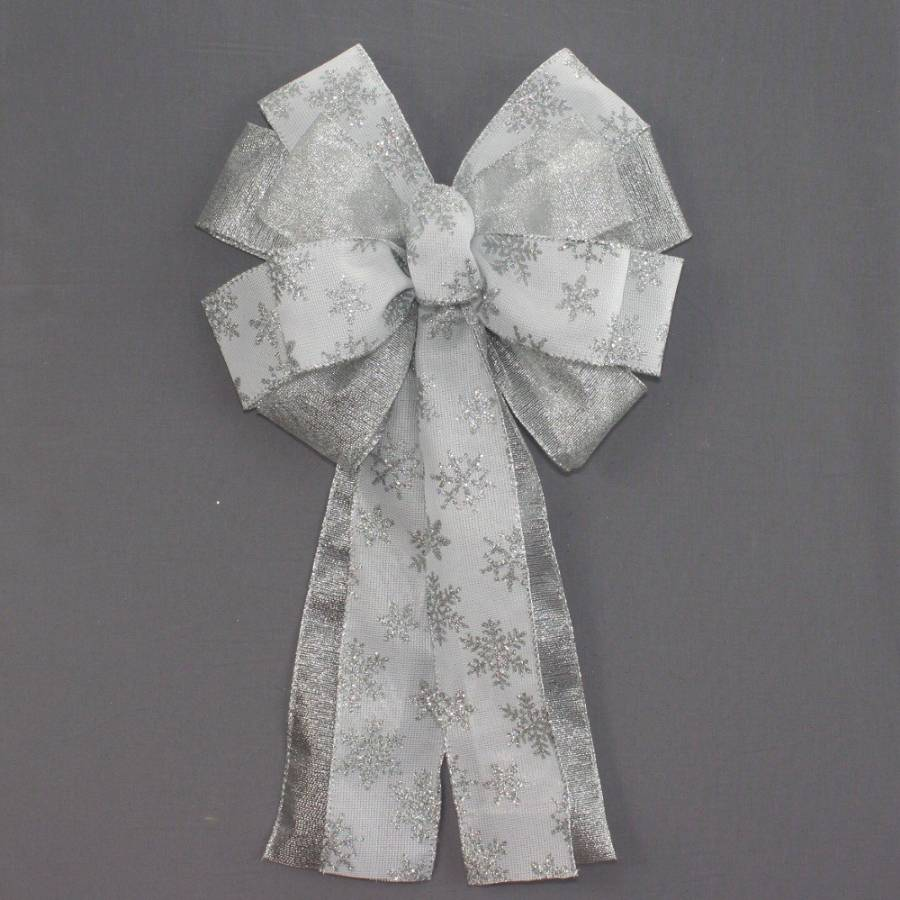 Silver Snowflake Metallic Christmas Wreath Bow