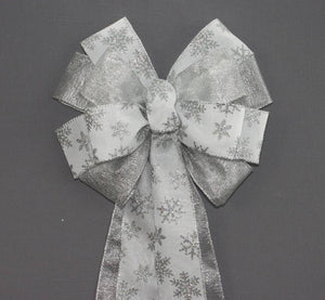 Silver Snowflake Metallic Christmas Wreath Bow - Package Perfect Bows