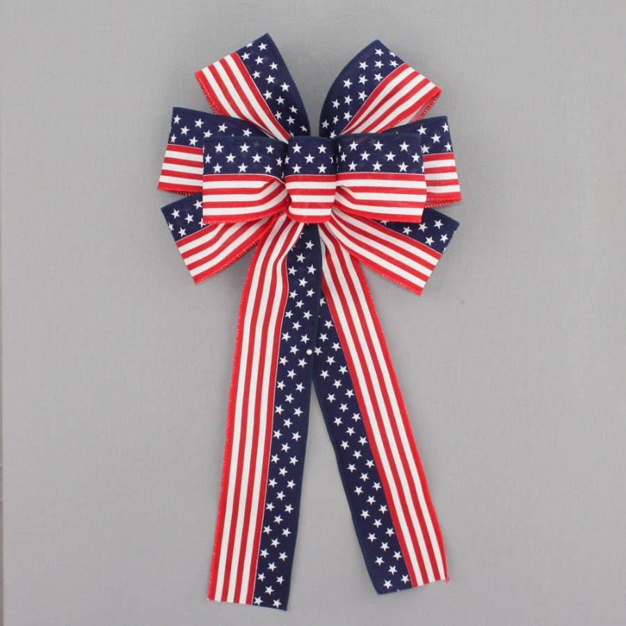 Stars and Stripes Flag Patriotic Bow - Package Perfect Bows