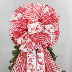 Festive Snowman Christmas Tree Topper Bow - Package Perfect Bows