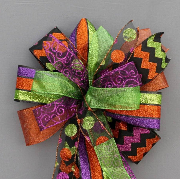 Sparkle Funky Halloween Wreath Bow - Package Perfect Bows - 1