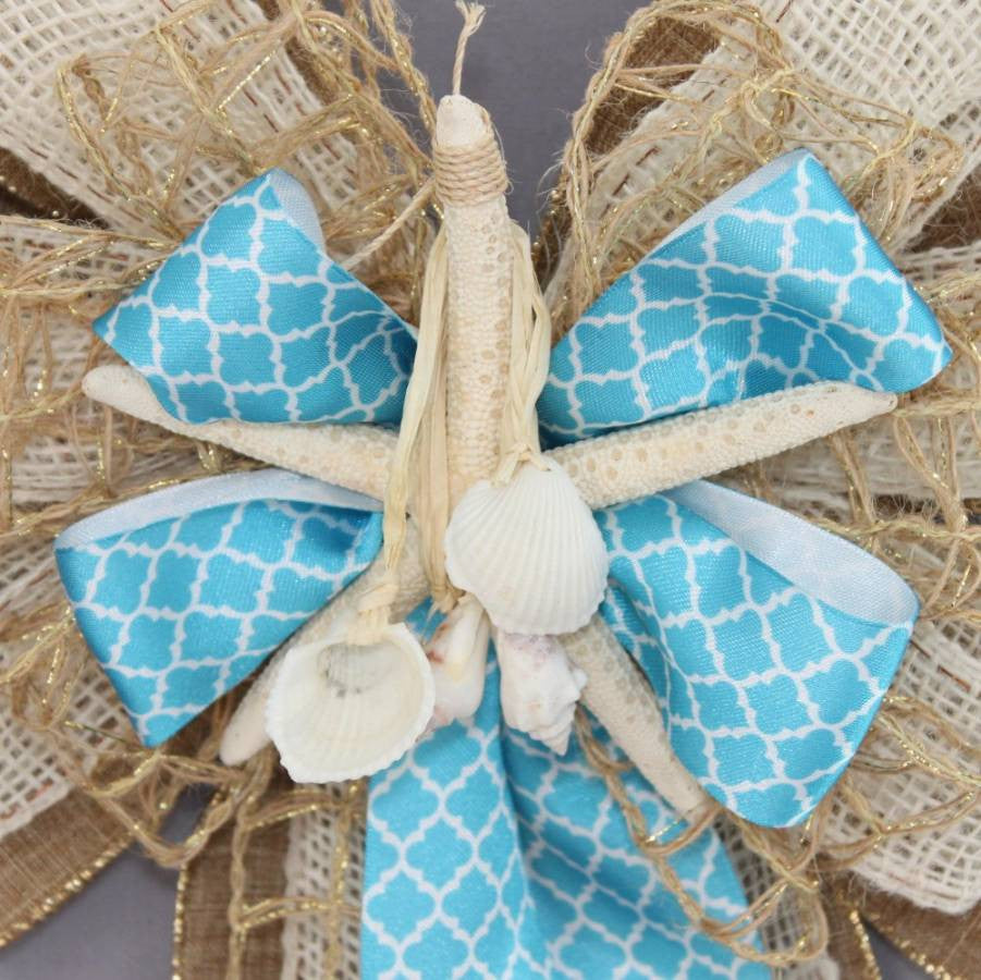 Starfish Burlap Jute Beach Wreath Bow