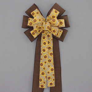Sunflower Brown Rustic Linen Bow - Package Perfect Bows