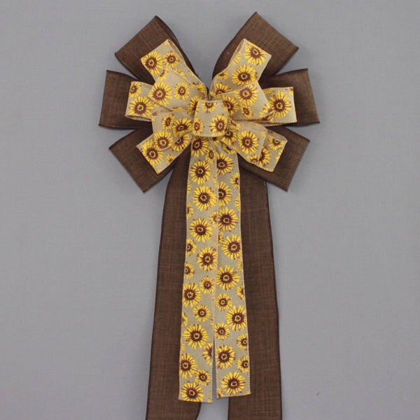 Sunflower Brown Rustic Linen Bow