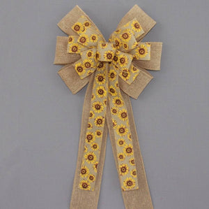 Sunflower Burlap Wreath Bow - Package Perfect Bows