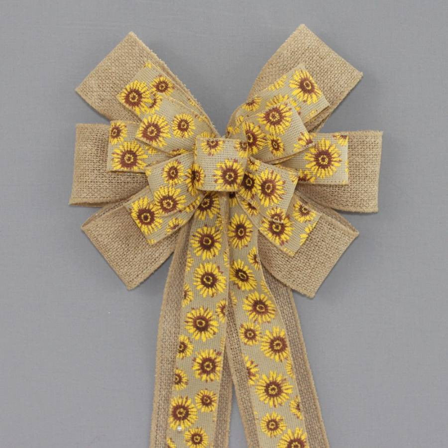 Sunflower Burlap Wreath Bow