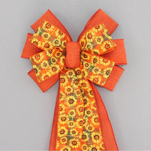 Burnt Orange Sunflower Fall Wreath Bow - Package Perfect Bows