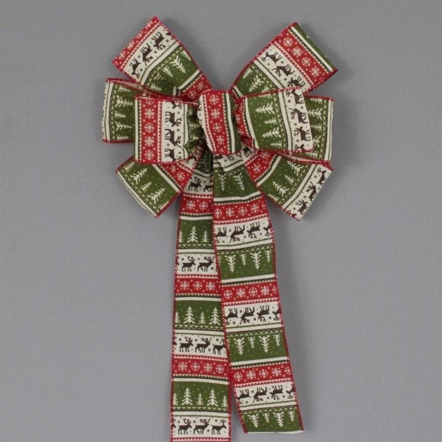 Rustic Sweater Pattern Christmas Bow - Package Perfect Bows - 2