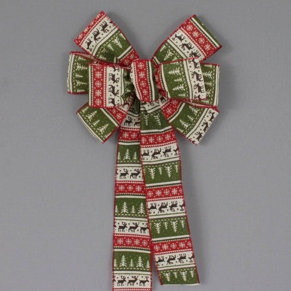 Rustic Sweater Pattern Christmas Bow - Package Perfect Bows - 1