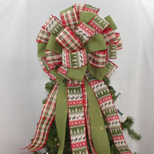 Holiday Sweater Plaid Christmas Tree Topper Bow