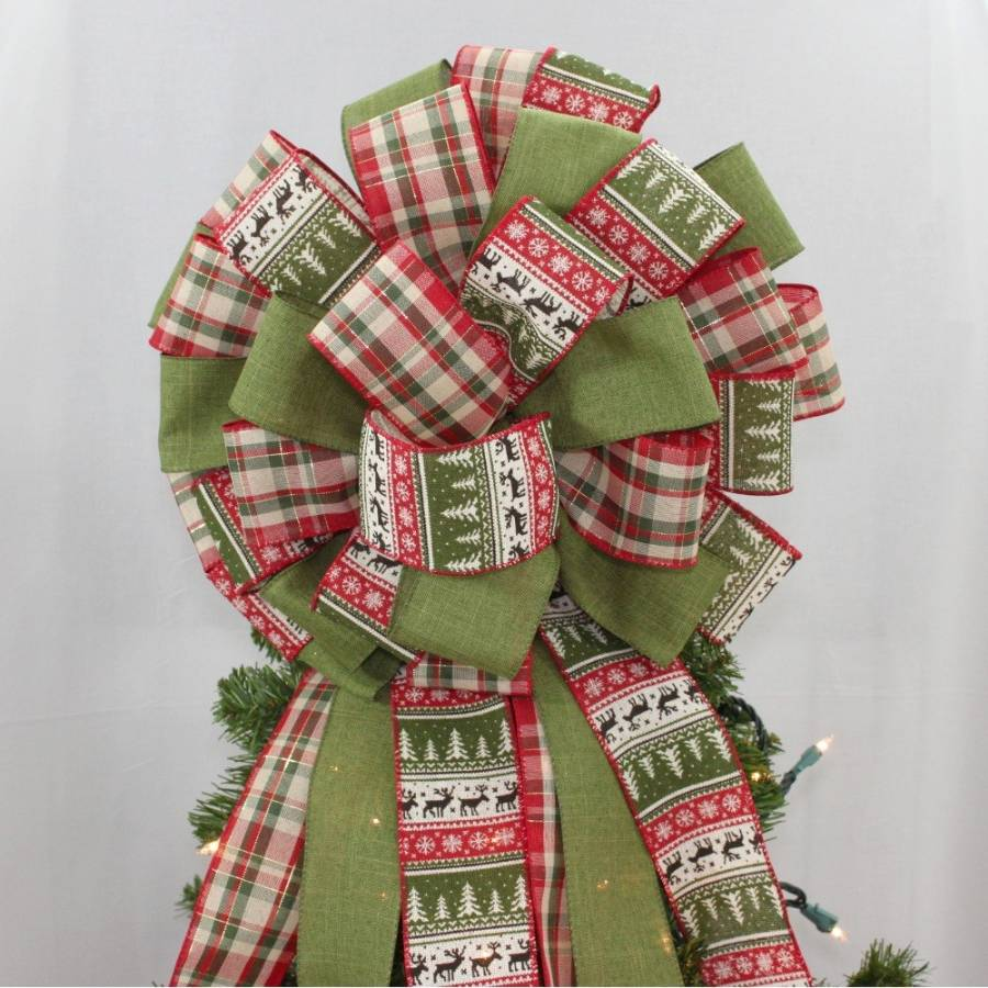 Rustic Holiday Sweater Plaid Christmas Tree Topper Bow ...