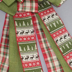 Holiday Sweater Plaid Christmas Tree Topper Bow - Package Perfect Bows