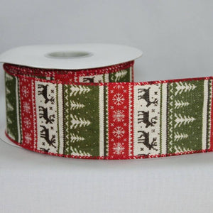 "2.5"" Rustic Sweater Print Christmas Wire Edge Ribbon (10 yards) - Package Perfect Bows"