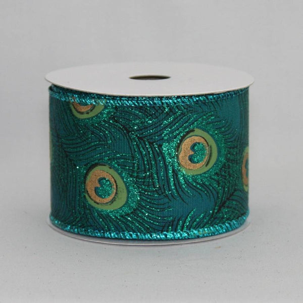 "2.5"" Sparkle Peacock Wire Edge Ribbon (10 Yards) - Package Perfect Bows - 1"