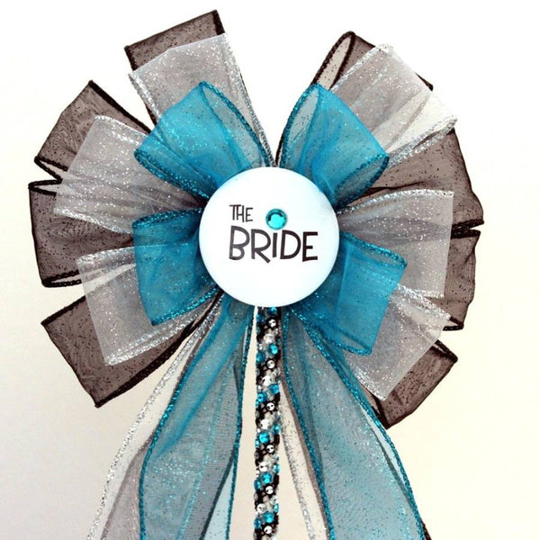 Bride Turquoise Black Bow Bridal Shower Bow Cake Topper - Package Perfect Bows - 1