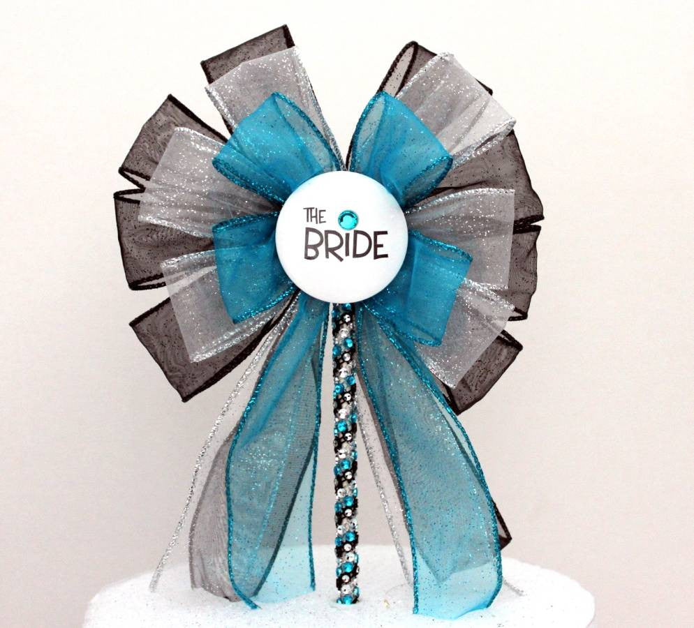 Bride Turquoise Black Bow Bridal Shower Bow Cake Topper - Package Perfect Bows - 3