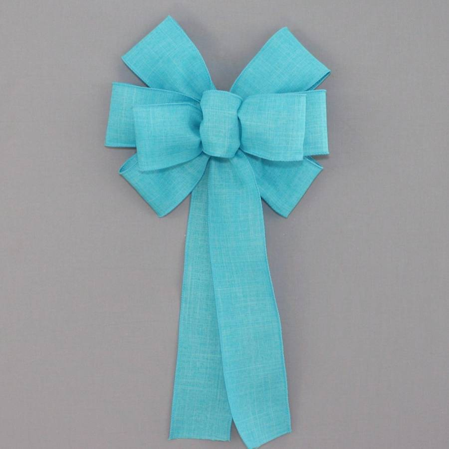 Turquoise Rustic Linen Wreath Bow