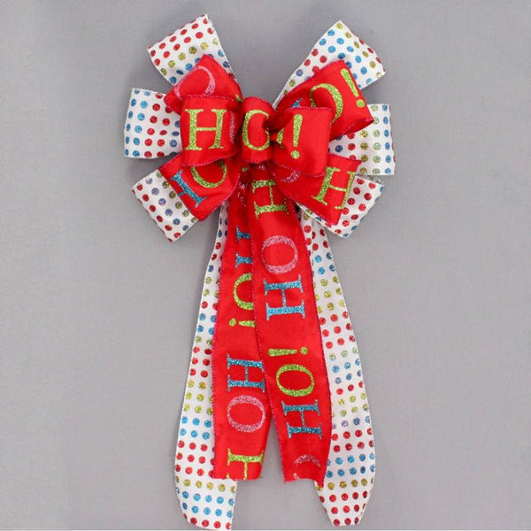 Bright Dot Ho Ho Christmas Bow - Package Perfect Bows - 1