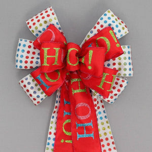 Bright Dot Ho Ho Christmas Bow - Package Perfect Bows