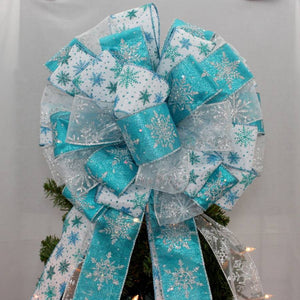 Turquoise Silver Sparkle Snowflake Tree Topper Bow - Package Perfect Bows - 1