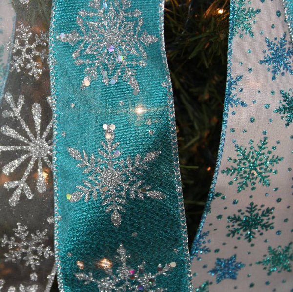 Turquoise And White Christmas Tree: Turquoise Silver Snowflake Christmas Tree Topper Bow