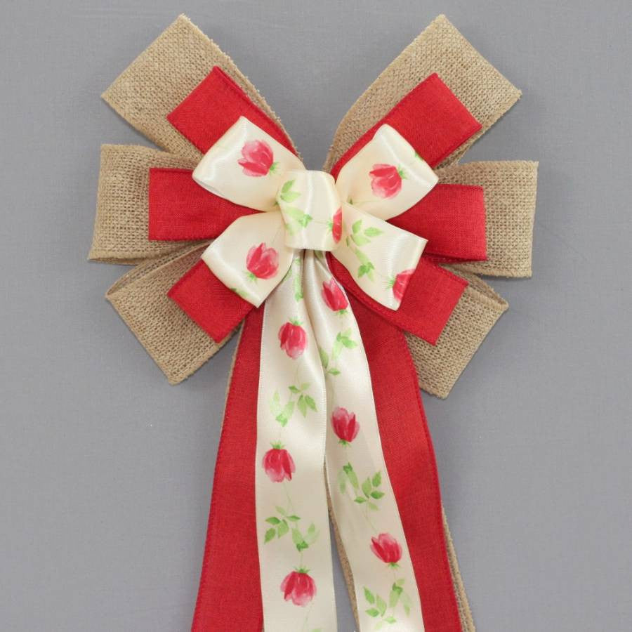 Watercolor Red Tulip Burlap Wreath Bow