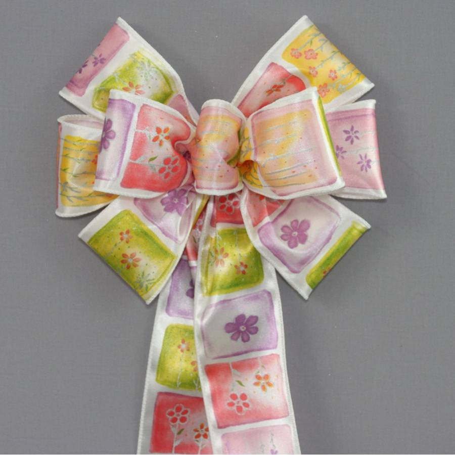 Watercolor Floral Spring Bow