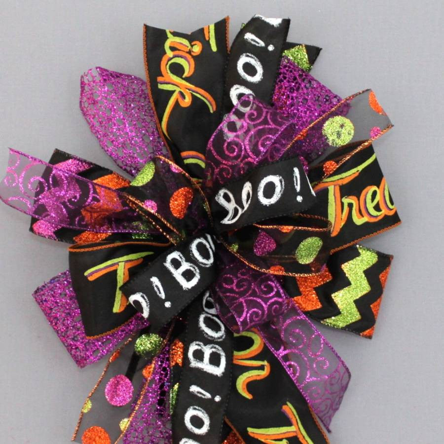 Whimsical Halloween Funky Wreath Bow - Package Perfect Bows - 3