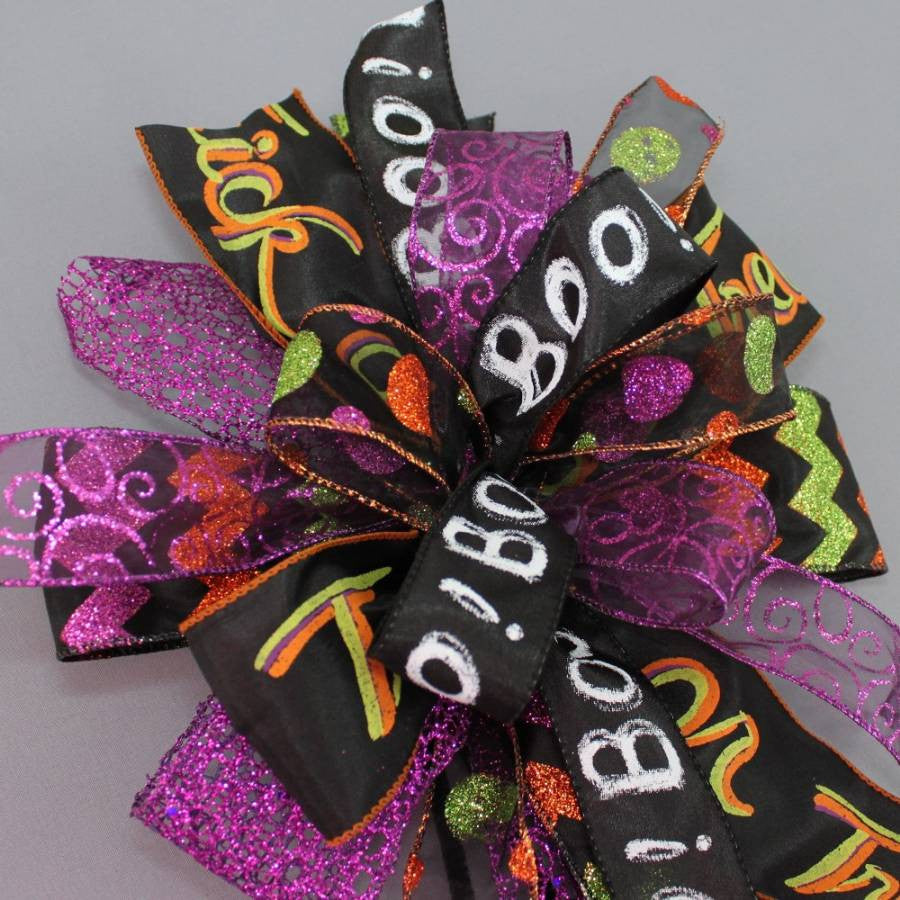 Whimsical Halloween Funky Wreath Bow - Package Perfect Bows - 4