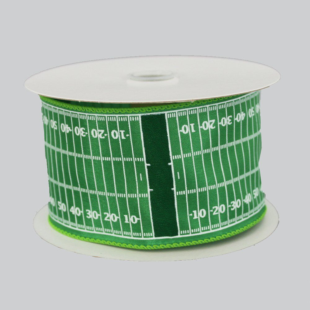 "2.5"" Football Field Yardline Wire Edge Ribbon (10 Yards) - Package Perfect Bows"