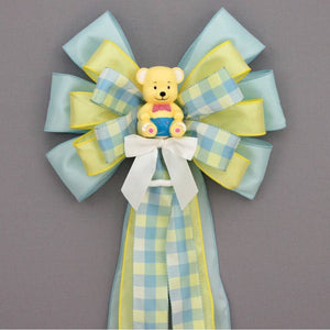 Yellow Bear Plaid Baby Shower Bow - Package Perfect Bows