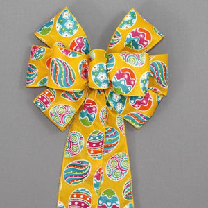 Yellow Festive Easter Egg Wreath Bow - Package Perfect Bows