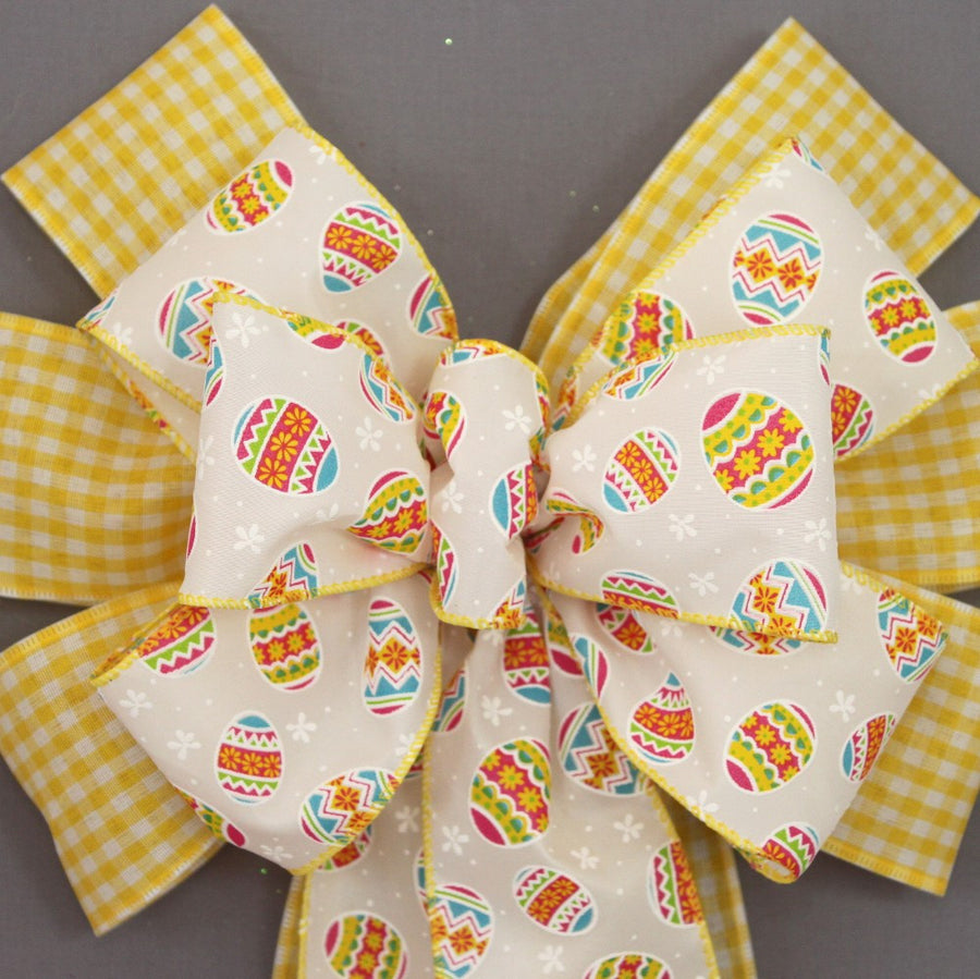 Yellow Gingham Festive Easter Egg Bow - Package Perfect Bows