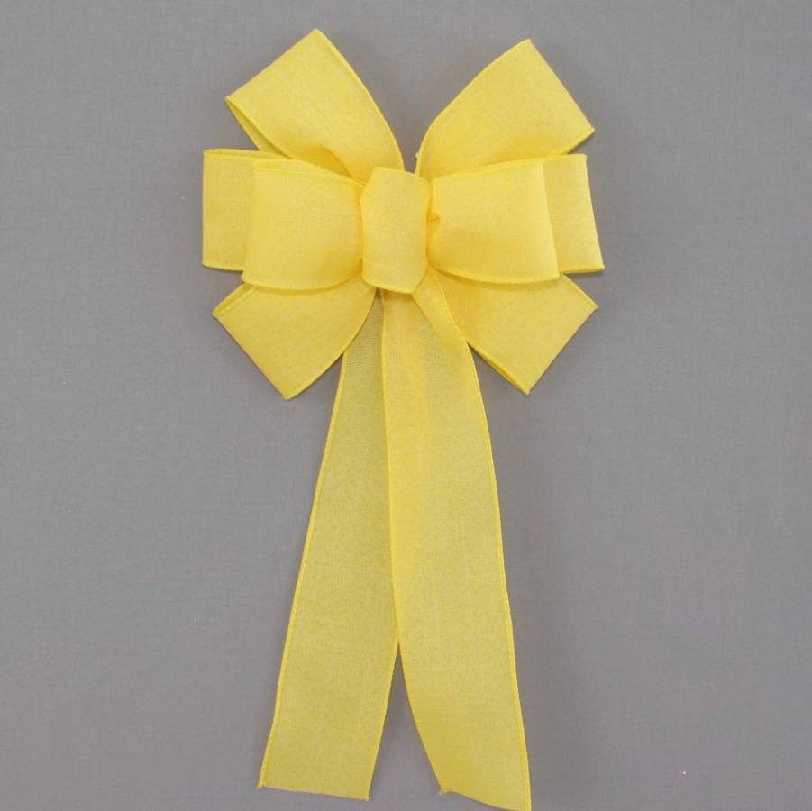 Yellow Rustic Linen Wreath Bow