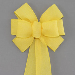 Yellow Rustic Linen Wreath Bow - Package Perfect Bows