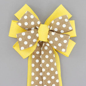 Yellow Rustic Natural Polka Dot Wreath Bow - Package Perfect Bows