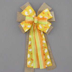 Rustic Yellow Easter Bunny Wreath Bow - Package Perfect Bows