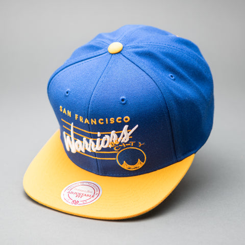 Golden State Warriors Blue Cursive Script Snapback