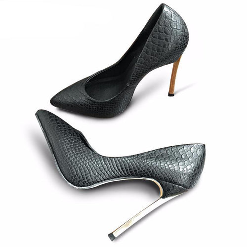 Top Quality Crocodile Printed Metal Thin Heels Women Pumps