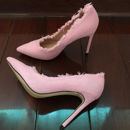 Top Quality Denim High Heels Women Pumps