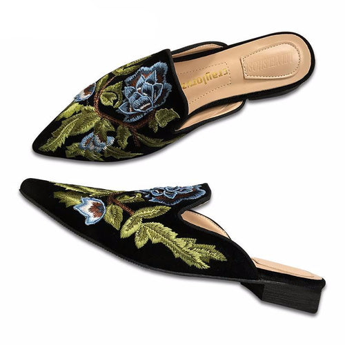 Luxury Design Embroidery Flowers Women Shoes