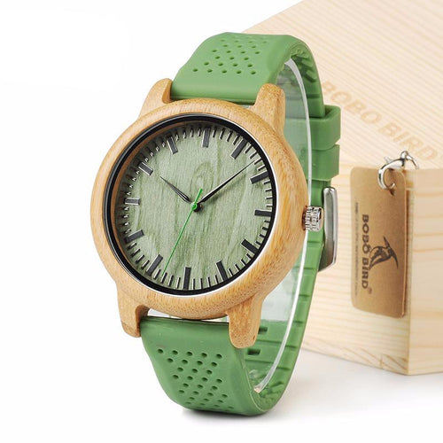 Silicone Strap Green Wooden Bamboo Watch