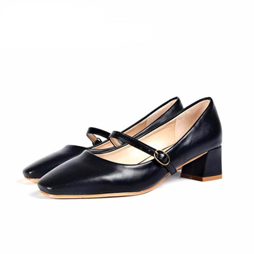 Woman Square Toe Leather Medium Heels Shoes