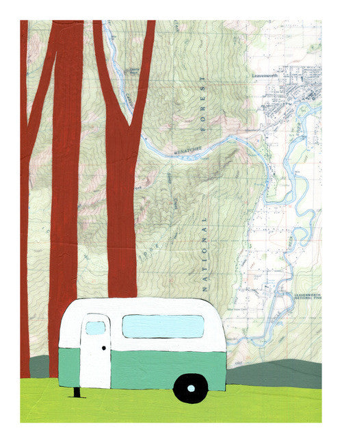 Leavenworth Map Rachel Austin Prints
