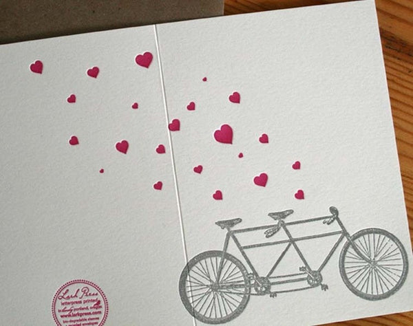 Heart with Tandem Bike Letter Press Greeting Card