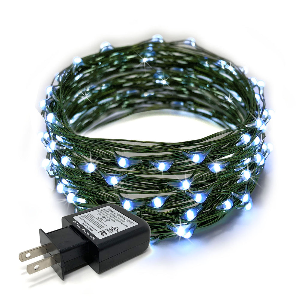 RTGS 100 Cold White Color LED String Lights Plug In on 32 Feet Green Color Wire for Indoor and Outdoor Use