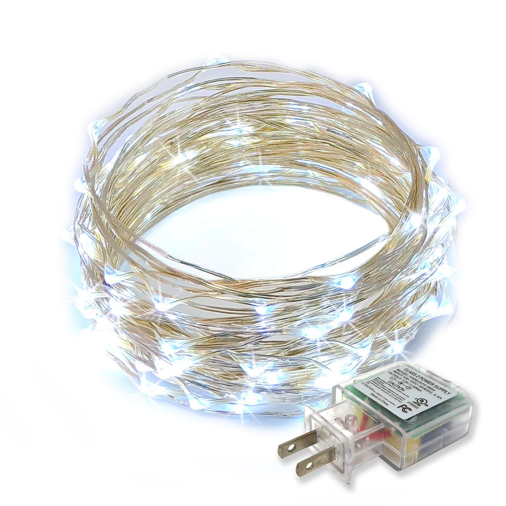RTGS 100 Cold White Color LED String Lights Plug In on 32 Feet Silver Color Wire for Indoor and Outdoor Use